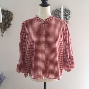 New Madewell Ruffle Sleeve Checked Button Shirt